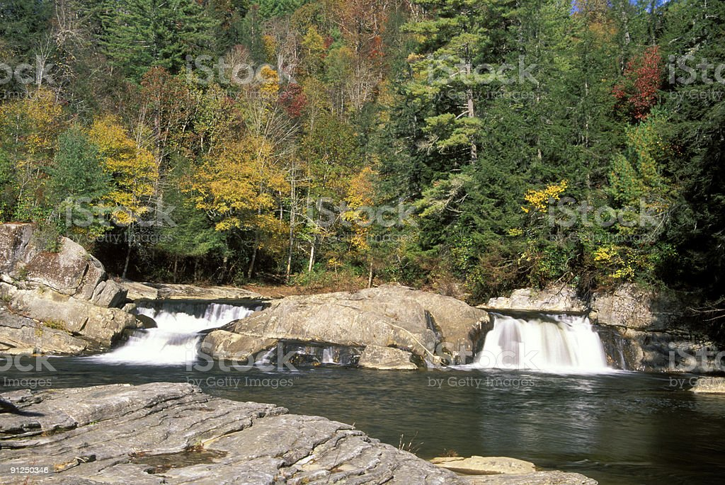 Linville Falls in the Blue Ridge Mountains royalty-free stock photo