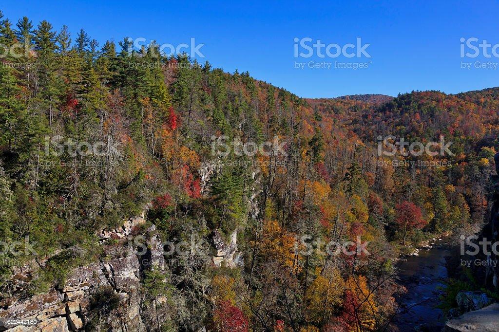 Linville River and Gorge in North Carolina stock photo