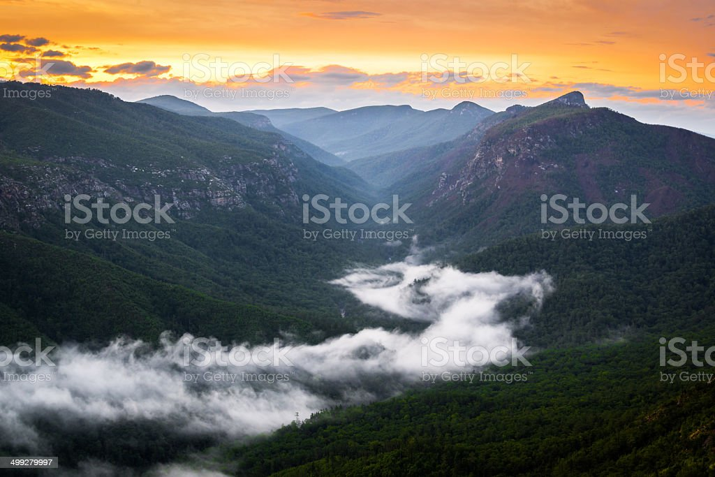Linville River of Fog stock photo
