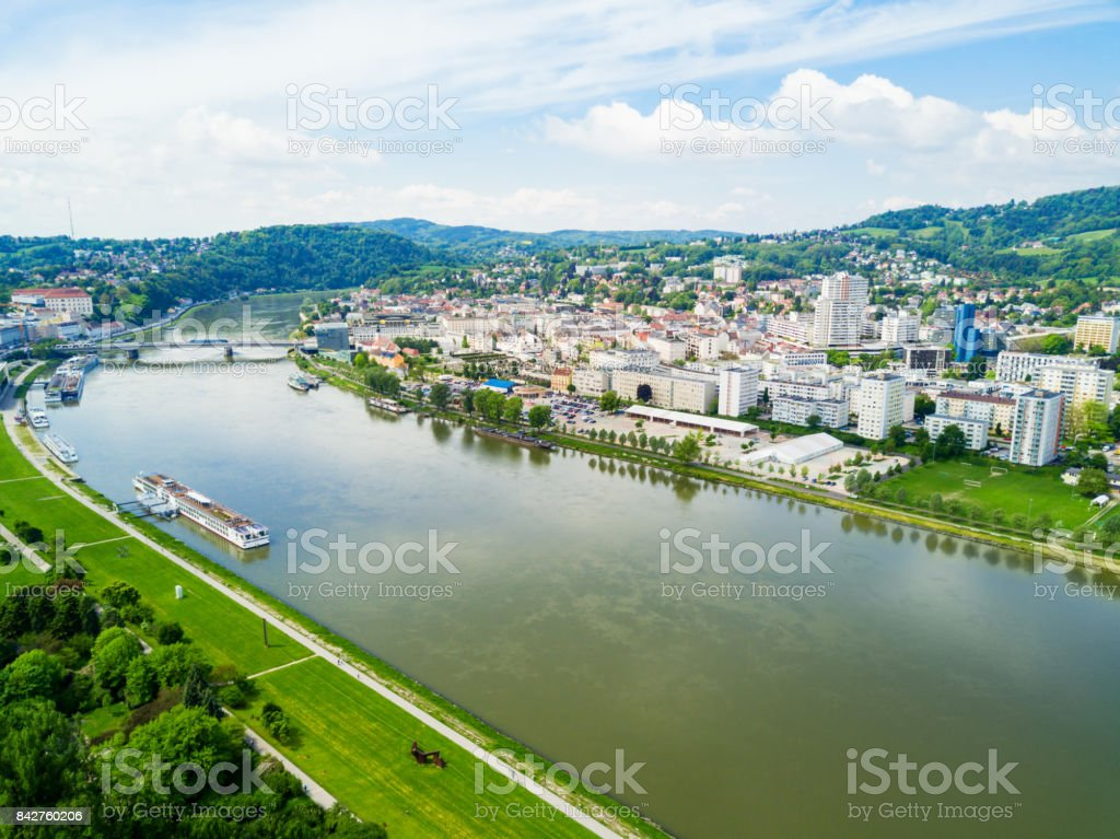 Linz aerial panoramic view stock photo
