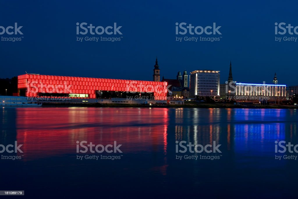 Linz and River Danube with the Lentos Museum, Austria stock photo
