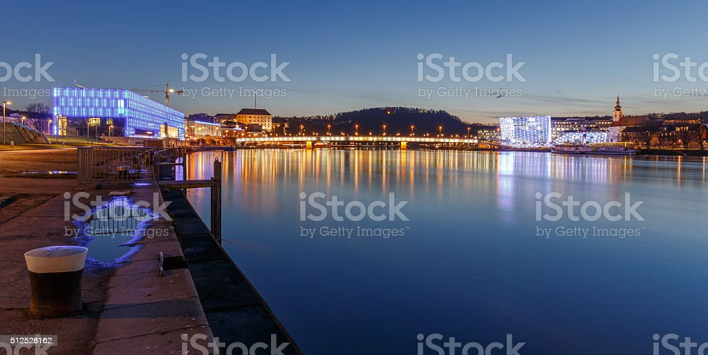 Linz at Night stock photo