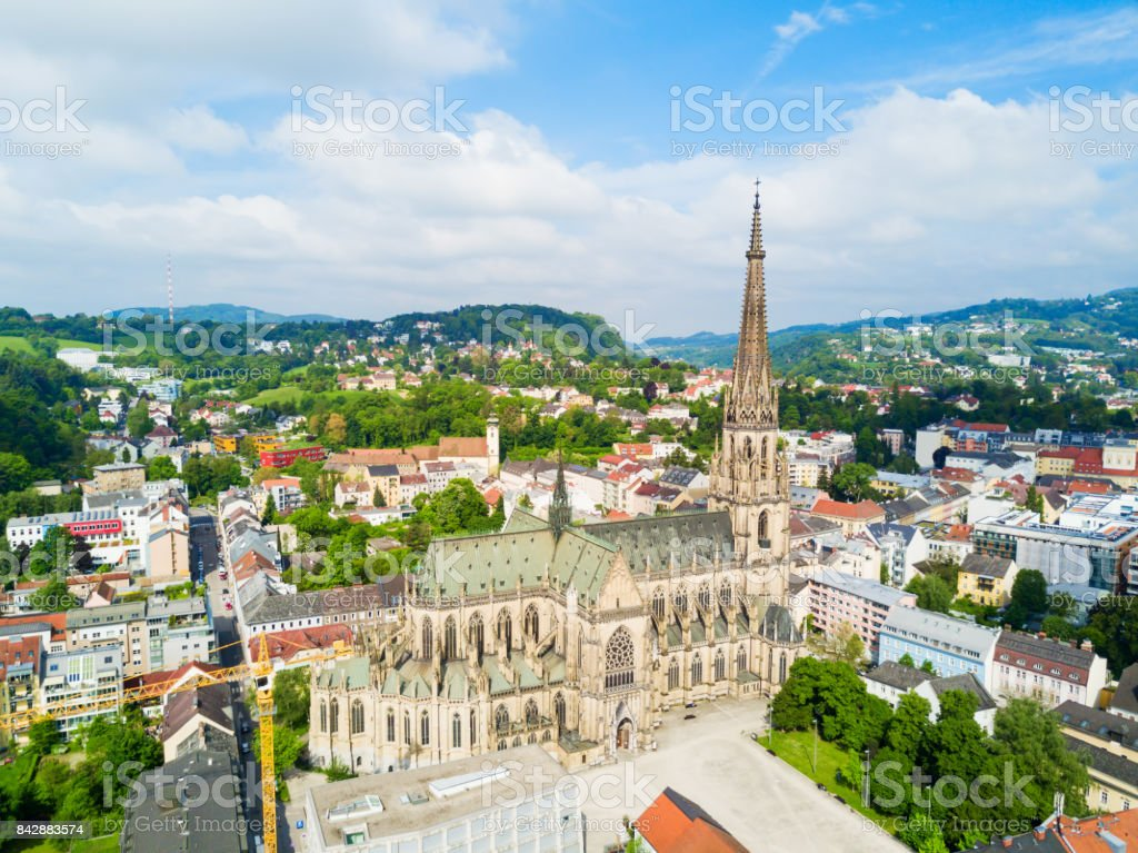 Linz New Cathedral, Austria stock photo