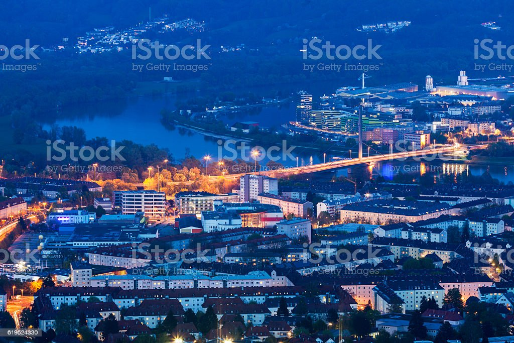 Linz panorama at night stock photo