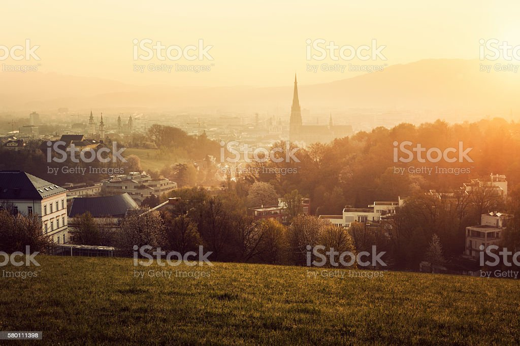 Linz panorama at sunrise stock photo