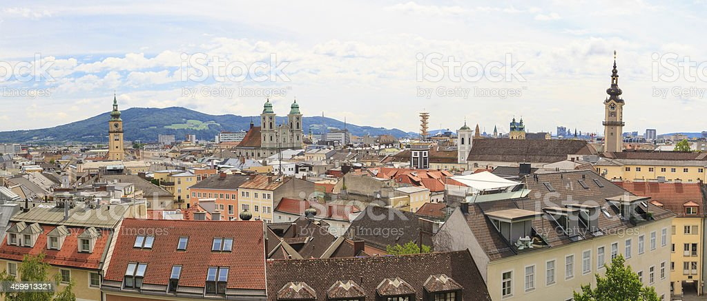 Linz, panorama of old city, Austria stock photo