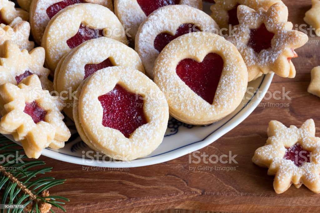 Linzer Christmas Cookies Filled With Strawberry Jam Stock Photo