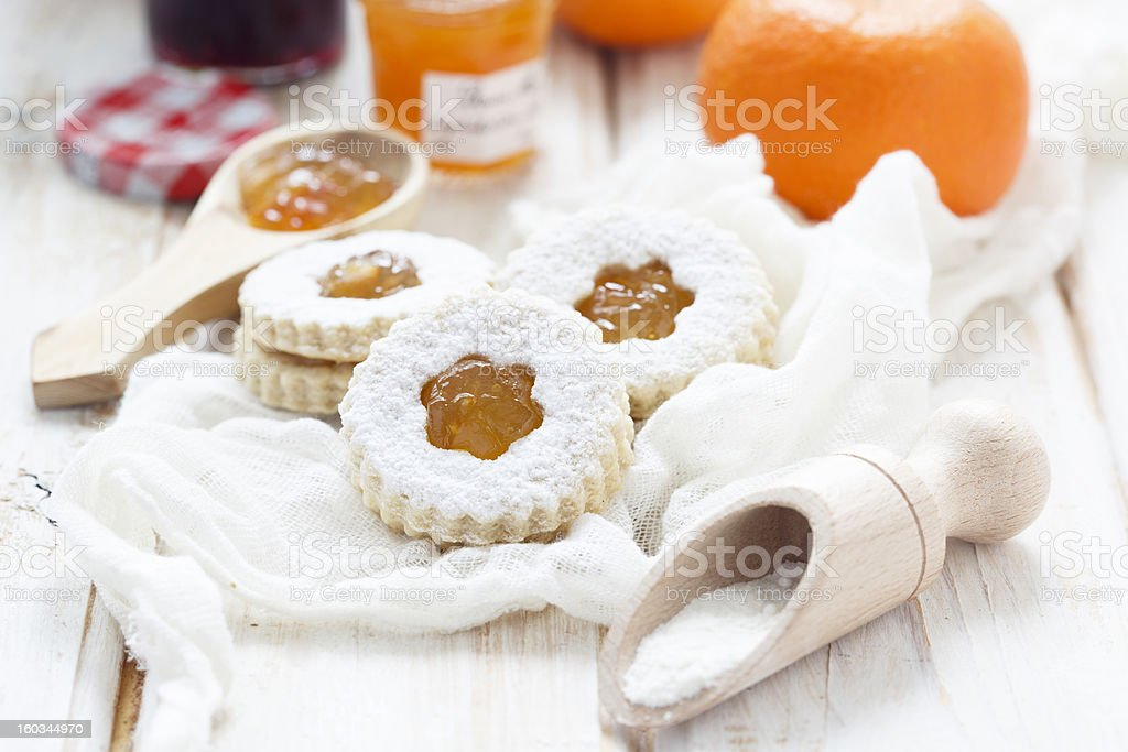 Linzer cookies with jam royalty-free stock photo