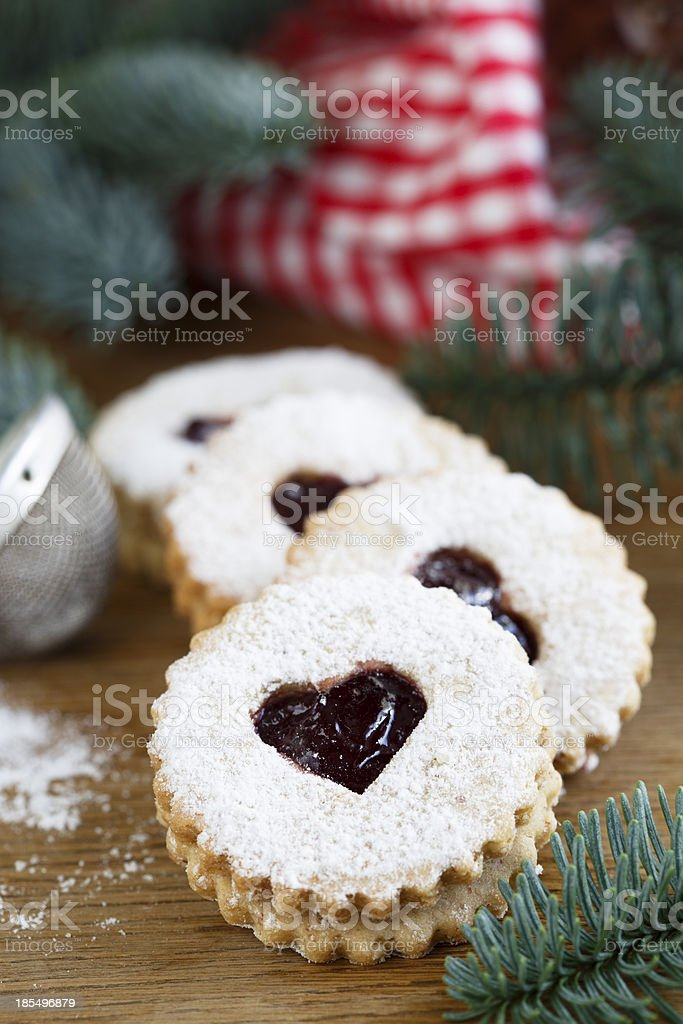 Linzer cutout cookies royalty-free stock photo