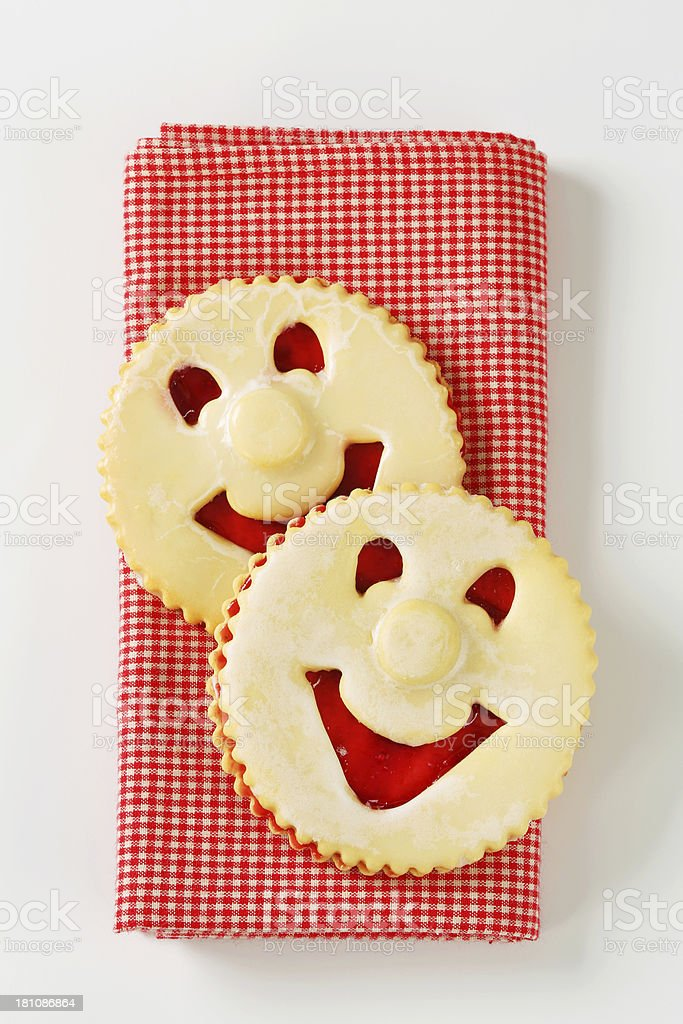 linzer smiling cookies royalty-free stock photo