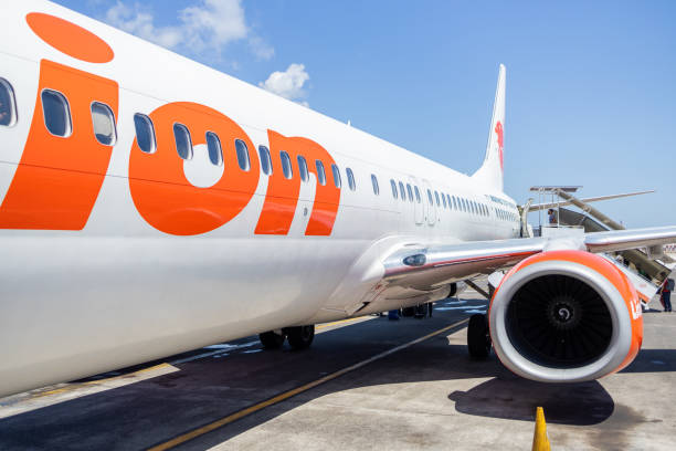 Lion Air Aircraft Getting Ready for its Next Flight From Bali Airport stock photo