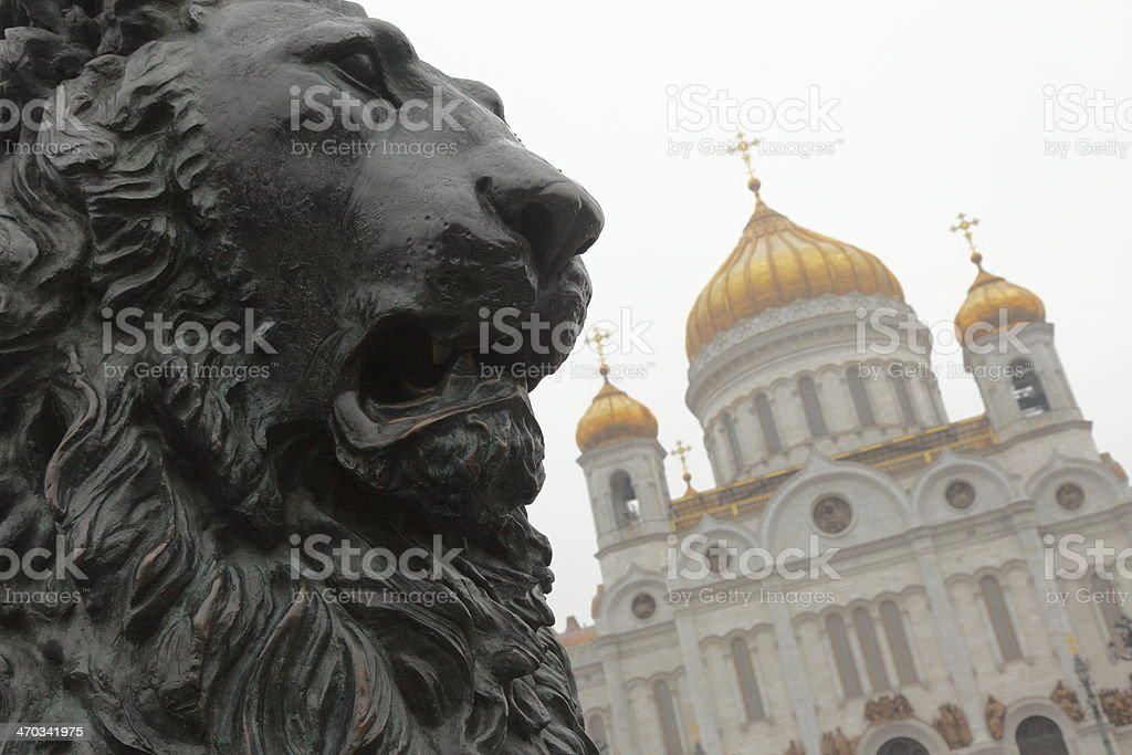 Lion and Cathedral of Christ the Saviour in Moscow, Russia stock photo