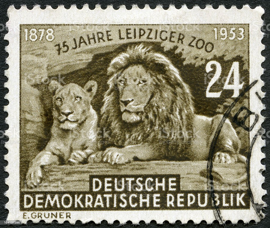 GDR 1953 Lion and Lioness, 75th anniversary Leipzig Zoo stock photo