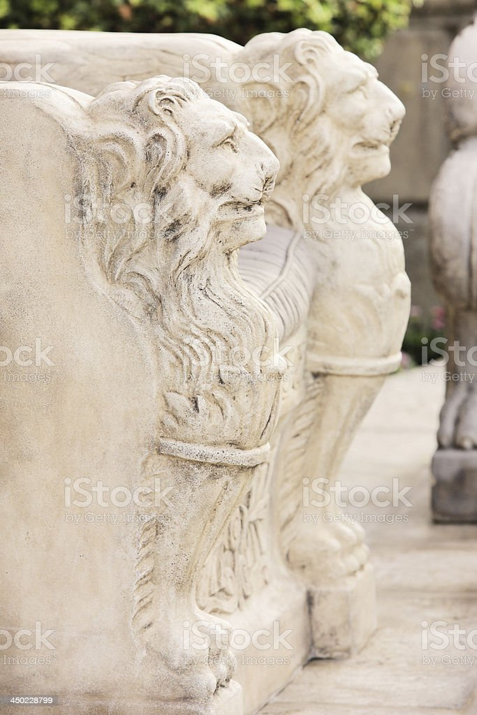 Lion Bench Victorian Furniture Decor royalty-free stock photo