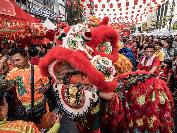 Lion dance Chinese New Year Bangkok stock photo