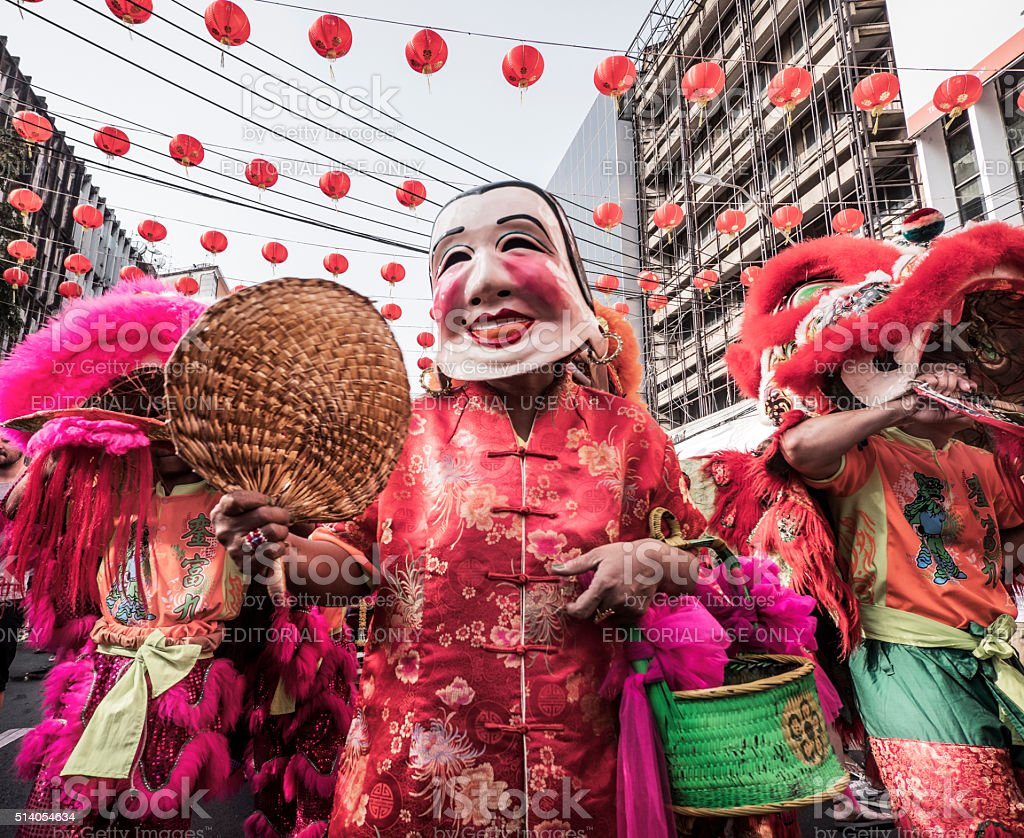 Lion dance Chinese New Year Bangkok stock photo