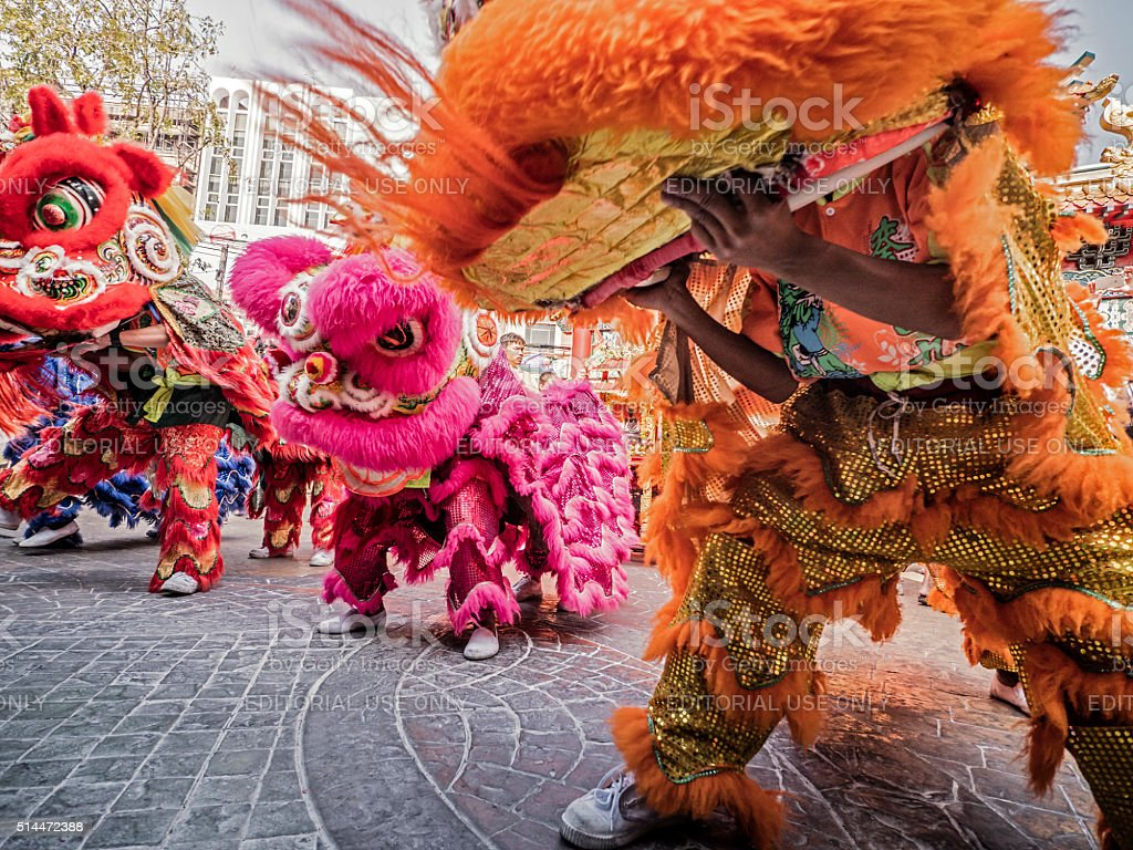 Lion dance Chinese New Year Bangkok royalty-free stock photo