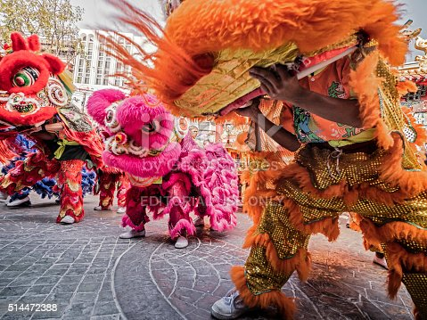Bangkok, Thailand - February 8, 2016: Lion dance at Yaowarat Road during the celebration of the Chinese New Year in Chinatown Bangkok Thailand