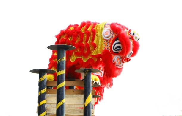 Lion dance during Chinese New Year celebration stock photo