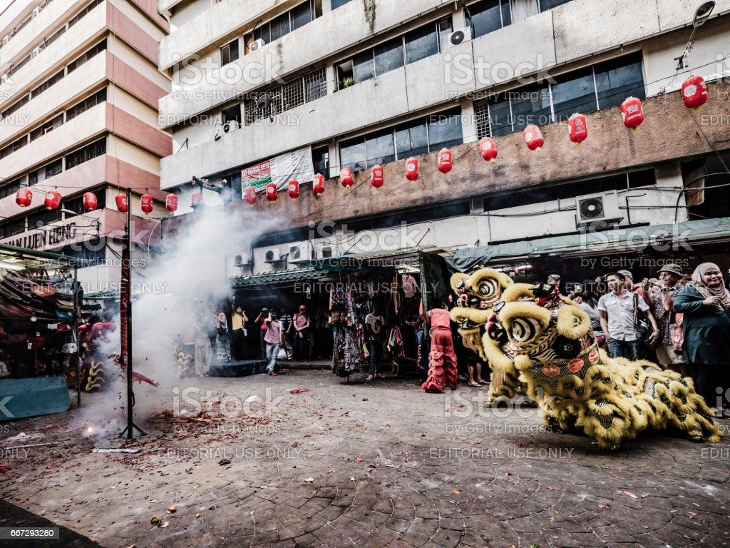 Lion dance in Kuala Lumpur Malaysia stock photo