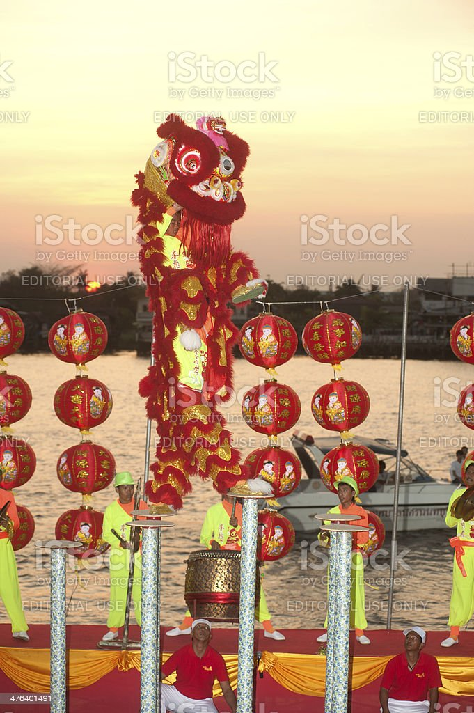 Lion dancing in Chinese New Year. royalty-free stock photo