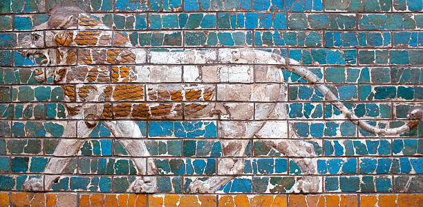 Lion - details of the Babylonian Ischtar Tor stock photo
