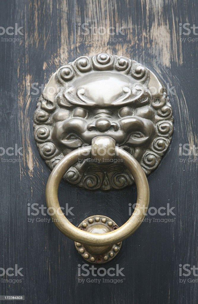Lion Door Handle On Gate stock photo