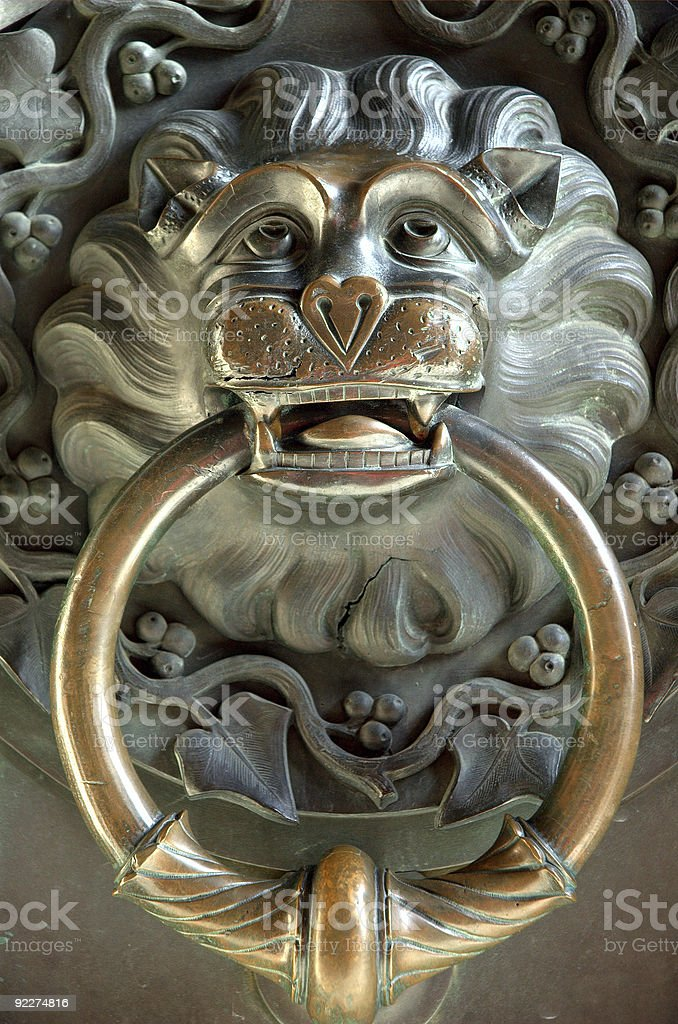 Lion Door Nob royalty-free stock photo