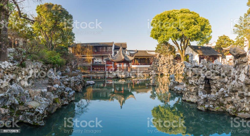 lion forest garden (shiziin) in Suzhou, China. UNESCO heritage site. stock photo