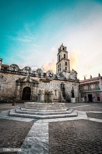 Lion Fountain Behind Plaza De La Cathedral In Havana, Cuba