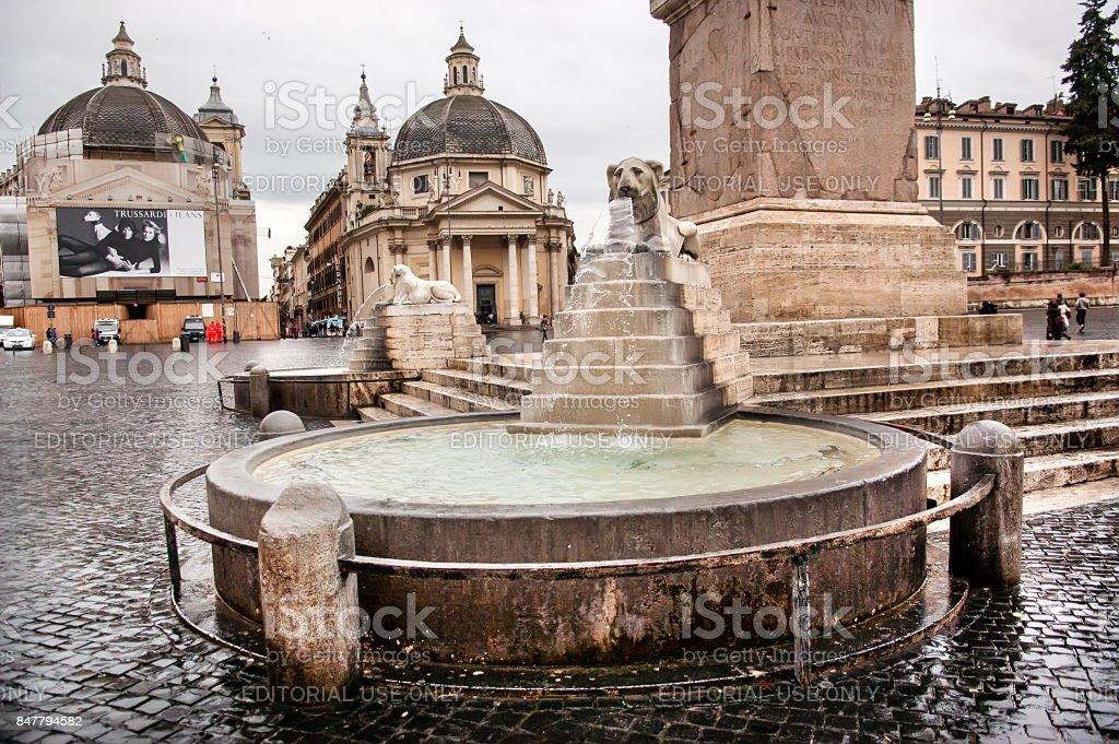 Lion fountain in Rome stock photo