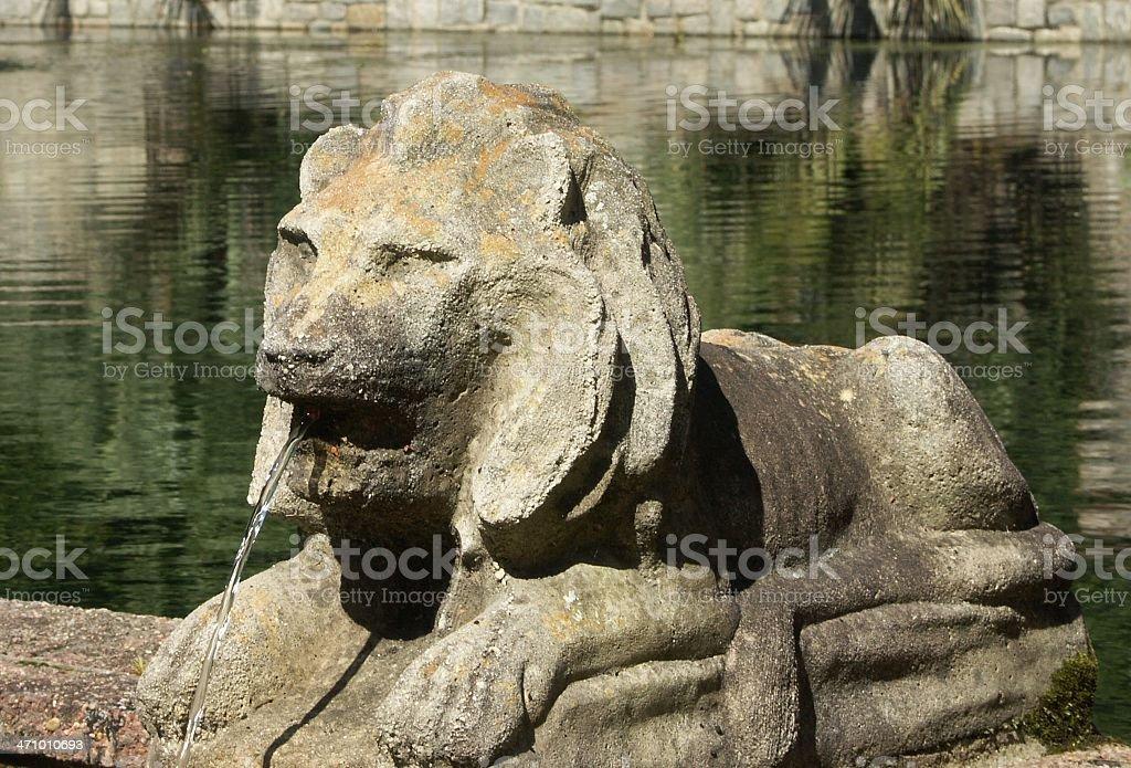 Lion Garden Statue Fountain royalty-free stock photo