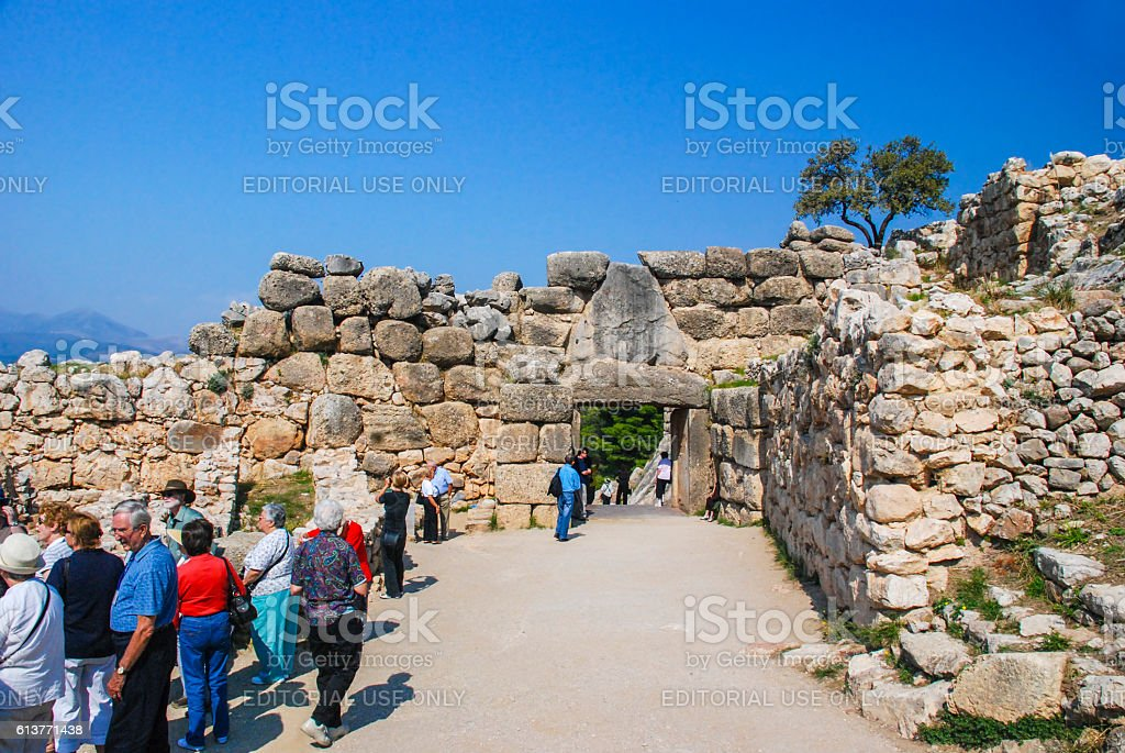 Lion Gate - entrance gate of the acropolis of Mycenae stock photo