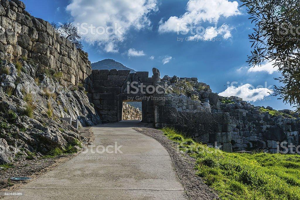 Lion gate in Mykines, Greece stock photo