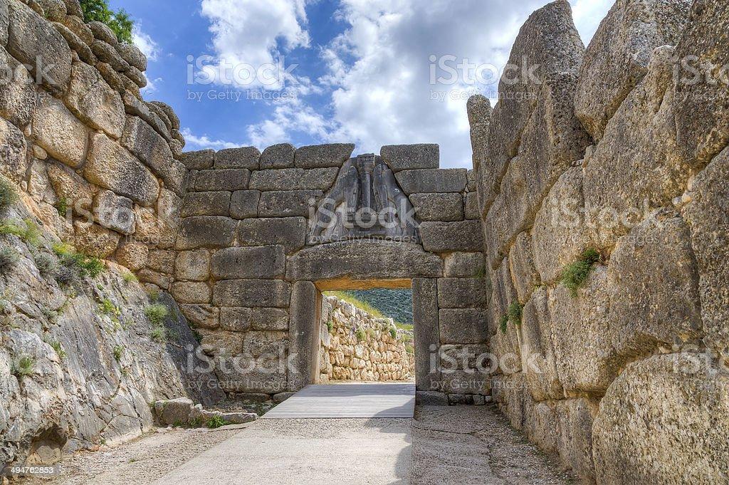 Lion Gate, Mycenae, Greece stock photo