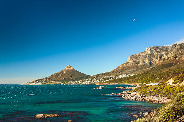 Lion Head and Table Mountain onthe coast near Cape Town stock photo