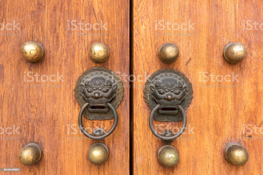 Lion head door handles Lizenzfreies stock-foto