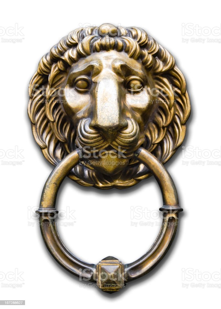 Lion head door knocker on white stock photo
