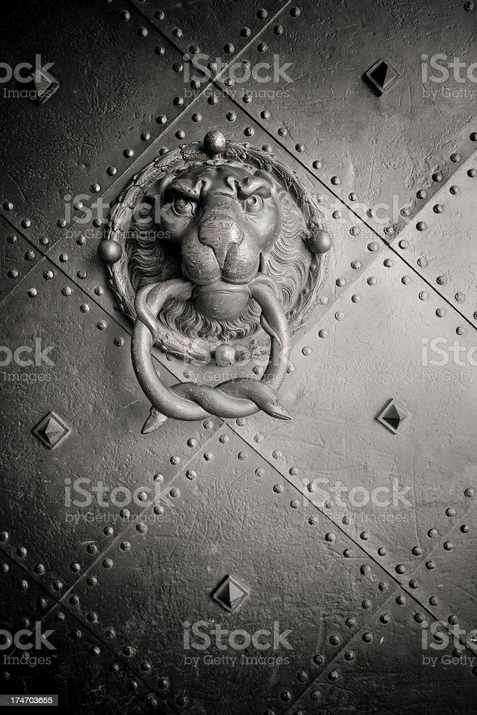 Lion Head Door Knocker royalty-free stock photo