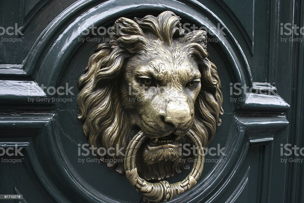 Lion head door knocker stock photo