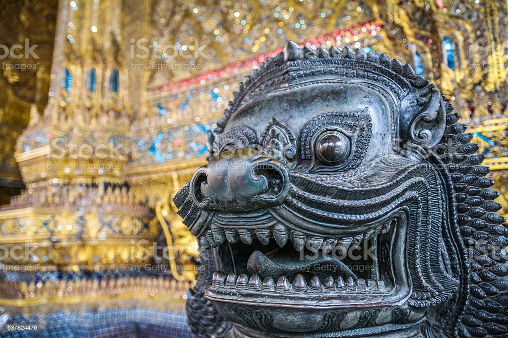 Lion in temple stock photo