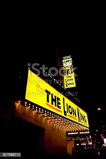 New York, NY, USA - October 25, 2014: THE Lion King: The Lion King is a musical based on the 1994 Disney animated film of the same name with music by Elton John and lyrics by Tim Rice along with the musical score created by Hans Zimmer with choral arrangements by Lebo M. Directed by Julie Taymor, the musical features actors in animal costumes as well as giant, hollow puppets. The show is produced by Disney Theatrical Productions.