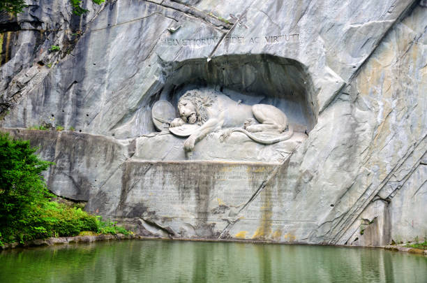 lion monument, lucerne - lucerne stock pictures, royalty-free photos & images