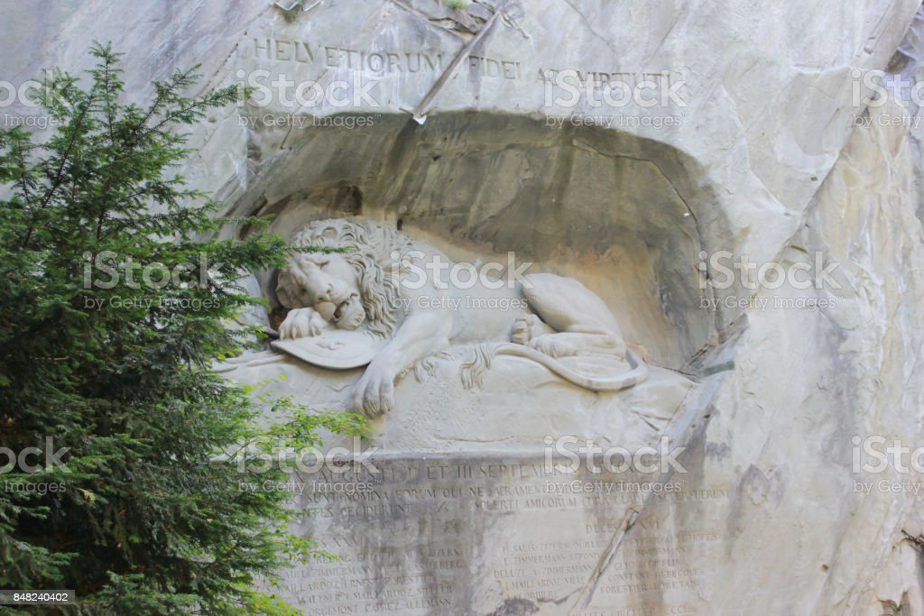 Lion of monument in Lucerne stock photo