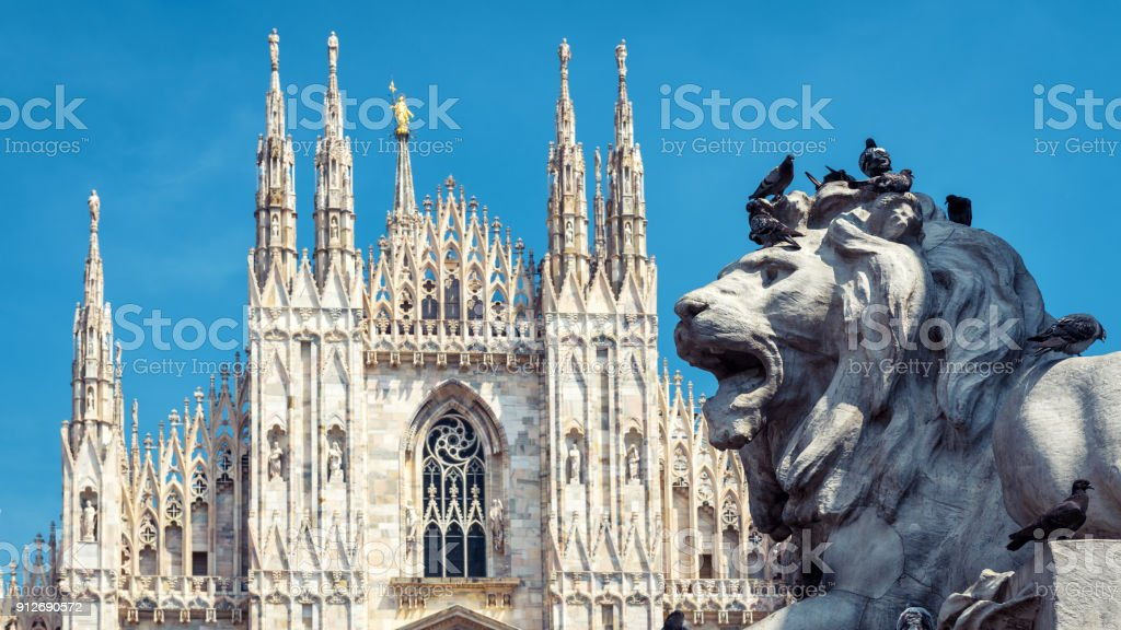 Lion on the Piazza del Duomo in Milan, Italy stock photo