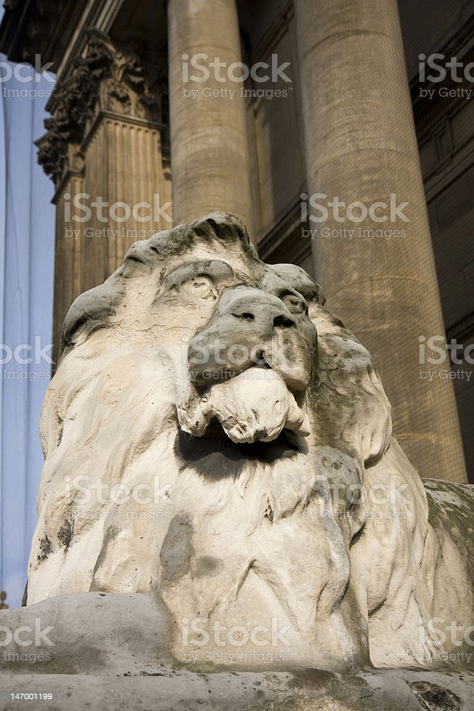 Lion outside Leeds Town Hall, West Yorkshire , UK royalty-free stock photo