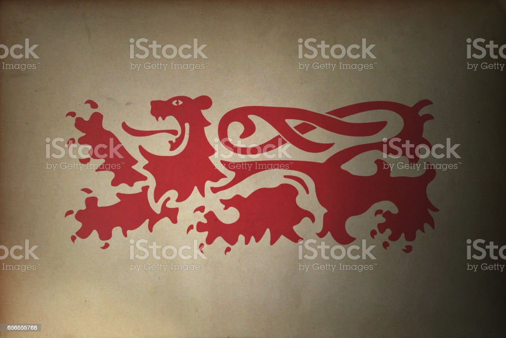 Lion passant on old paper stock photo