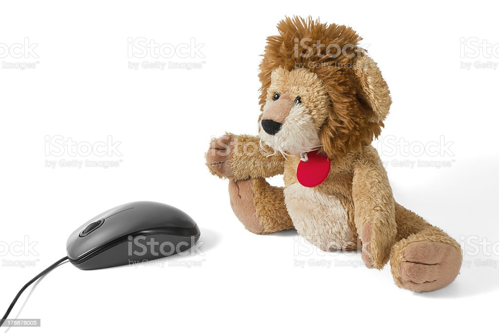 Lion Puppy Plushy with Mouse stock photo