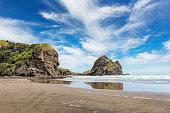 Beautiful Piha Beach with Lion Rock under sunny blue summer sky. Piha Beach, Western Coast Beach Auckland, New Zealand, Oceania.