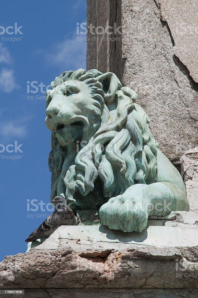 Lion Sculpture, Antoine Laurent Dantan, Place de la Republique, Arles stock photo